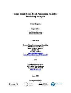 Hope Small-Scale Food Processing Facility: Feasibility Analysis