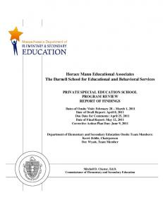 Horace Mann Educational Associates The Darnell School for Educational and Behavioral Services