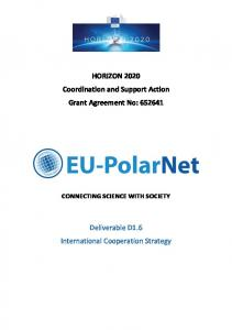 HORIZON 2020 Coordination and Support Action Grant Agreement No: