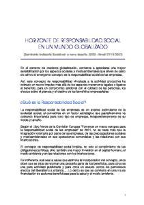 HORIZONTE DE RESPONSABILIDAD SOCIAL EN UN MUNDO GLOBALIZADO