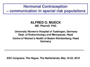 Hormonal Contraception communication in special risk populations