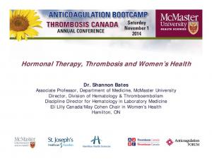 Hormonal Therapy, Thrombosis and Women s Health