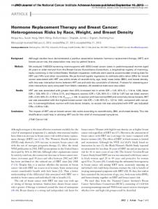 Hormone Replacement Therapy and Breast Cancer: Heterogeneous Risks by Race, Weight, and Breast Density
