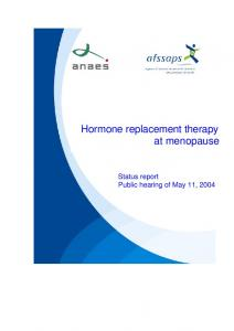Hormone replacement therapy at menopause