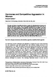 Hormones and Competitive Aggression in Women