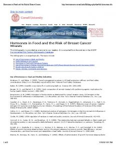 Hormones in Food and the Risk of Breast Cancer