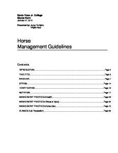 Horse Management Guidelines