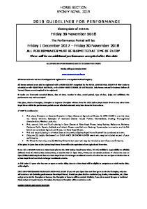 HORSE SECTION SYDNEY ROYAL Friday 30 November Friday 1 December 2017 Friday 30 November 2018