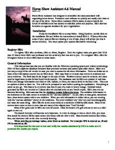 Horse Show Assistant 4.6 Manual