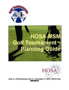 HOSA-MSM Golf Tournament Planning Guide
