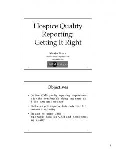 Hospice Quality Reporting: Getting It Right