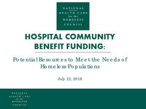 HOSPITAL COMMUNITY BENEFIT FUNDING: