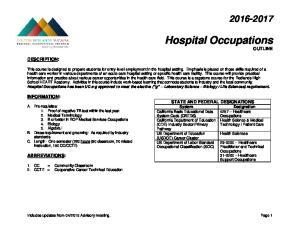 Hospital Occupations OUTLINE
