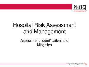 Hospital Risk Assessment and Management. Assessment, Identification, and Mitigation