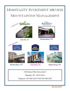 HOSPITALITY INVESTMENT SERVICES MOUNTAINTOP MANAGEMENT