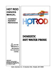 HOT ROD OWNERS MANUAL DOMESTIC HOT WATER PROBE. - Installation - Operation - Maintenance