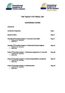 'Hot Topics in EU Family Law'