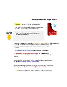 Hotel Facilities Services Sample Proposal