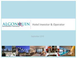 Hotel Investor & Operator. September 2016
