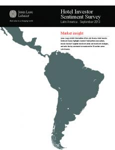 Hotel Investor Sentiment Survey Latin America. September 2013