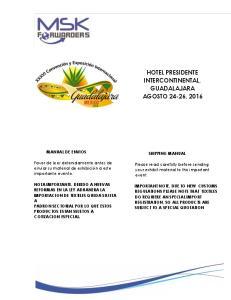 HOTEL PRESIDENTE INTERCONTINENTAL, GUADALAJARA AGOSTO 24-26, 2016