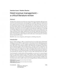 Hotel revenue management a critical literature review