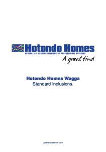 Hotondo Homes Wagga Standard Inclusions