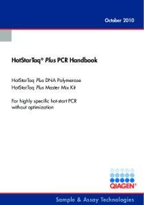 HotStarTaq Plus PCR Handbook