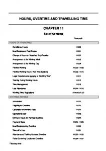 HOURS, OVERTIME AND TRAVELLING TIME CHAPTER 11