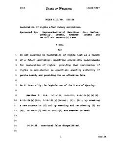 HOUSE BILL NO. HB0126. Restoration of rights after felony conviction