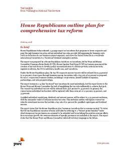 House Republicans outline plan for comprehensive tax reform