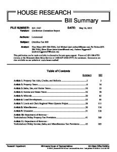 HOUSE RESEARCH Bill Summary