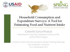 Household Consumption and Expenditure Surveys: A Tool for Estimating Food and Nutrient Intake