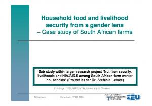 Household food and livelihood security from a gender lens Case study of South African farms