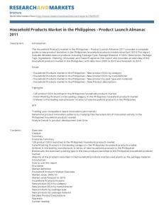 Household Products Market in the Philippines - Product Launch Almanac 2011