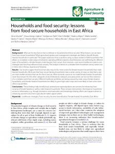 Households and food security: lessons from food secure households in East Africa