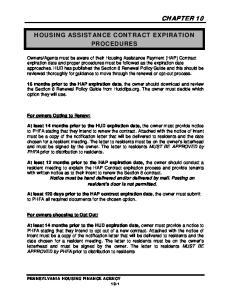HOUSING ASSISTANCE CONTRACT EXPIRATION PROCEDURES