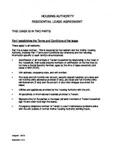 HOUSING AUTHORITY RESIDENTIAL LEASE AGREEMENT