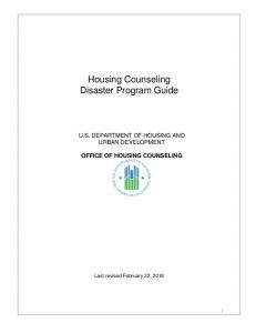 Housing Counseling Disaster Program Guide