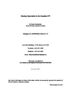 Housing Depreciation in the Canadian CPI