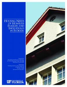Housing Needs of Homeless Families and Individuals in Florida