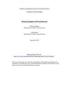 Housing Supply and Foreclosures