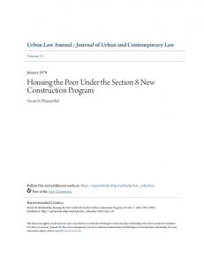 Housing the Poor Under the Section 8 New Construction Program