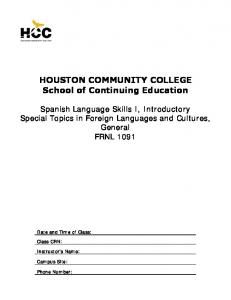 HOUSTON COMMUNITY COLLEGE School of Continuing Education