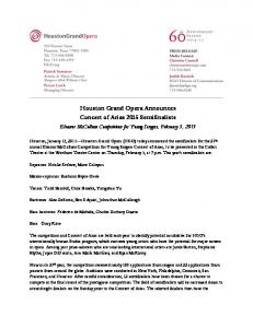 Houston Grand Opera Announces Concert of Arias 2015 Semifinalists