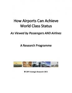 How Airports Can Achieve World Class Status