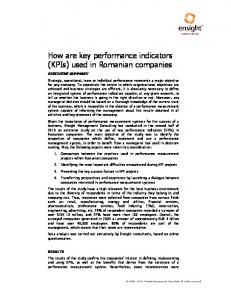 How are key performance indicators (KPIs) used in Romanian companies