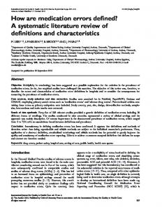 How are medication errors defined? A systematic literature review of definitions and characteristics