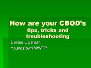 How are your CBOD s tips, tricks and troubleshooting