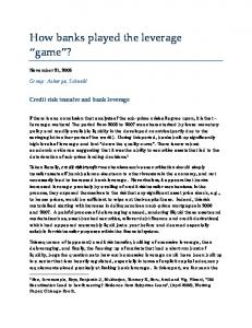How banks played the leverage game?
